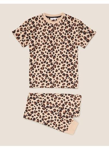 Marks & Spencer Saf Pamuklu Leopar Desenli Pijama Takımı Renkli